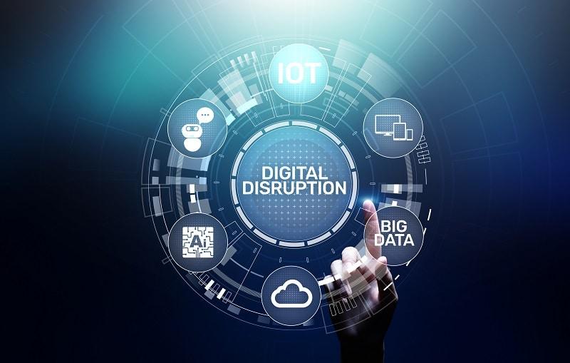 Digital Disruption. Disruptive business ideas. IOT, network, smart city, big data, cloud, analytics, AI.